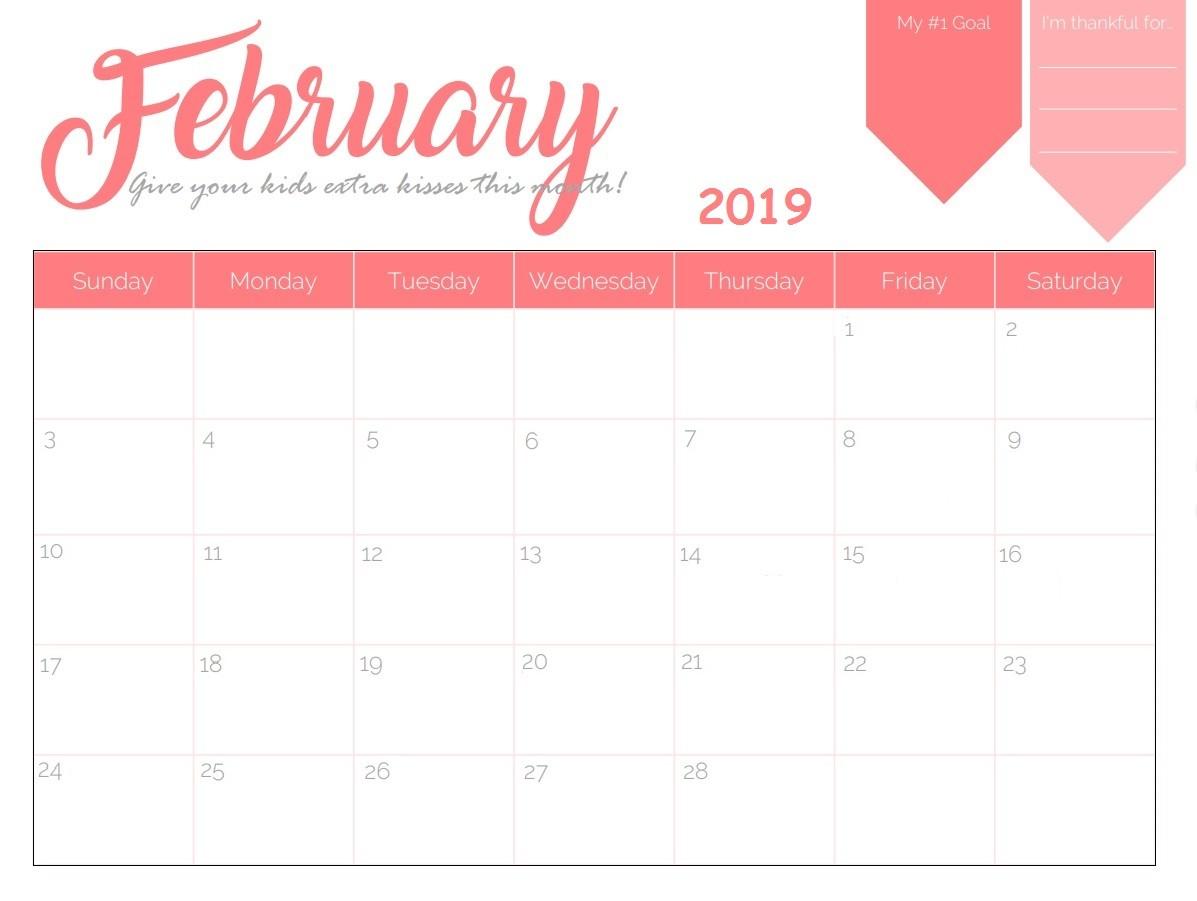Free Printable Calendars February 2019 Free Printable 2019 Monthly Calendar