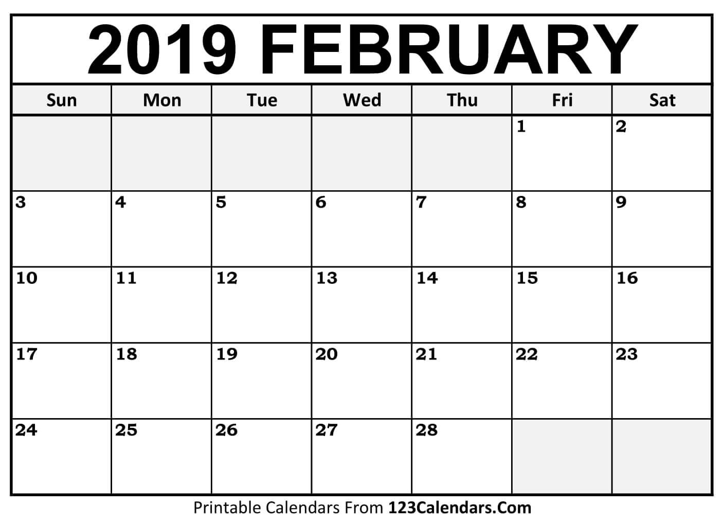 Free Printable Calendars February 2019 Printable February 2019 Calendar Templates 123calendars