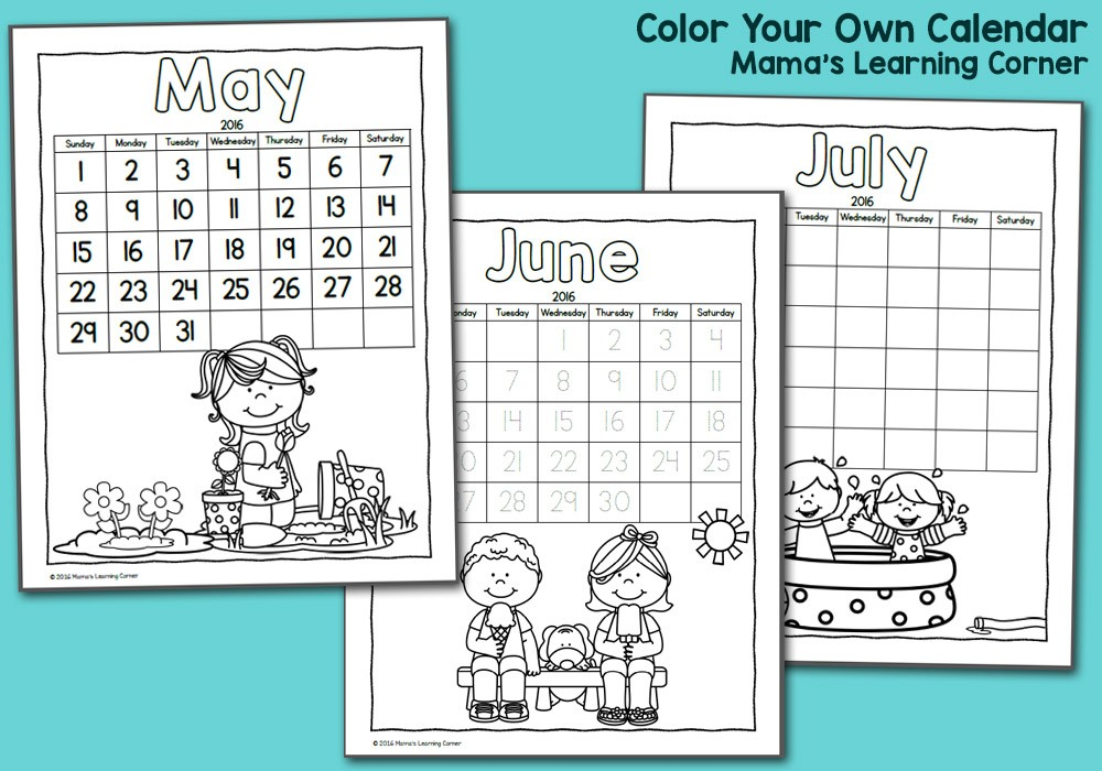 Free Printable Calendars for Kids Color Fun Printable Calendar for Kids 2016 Mamas
