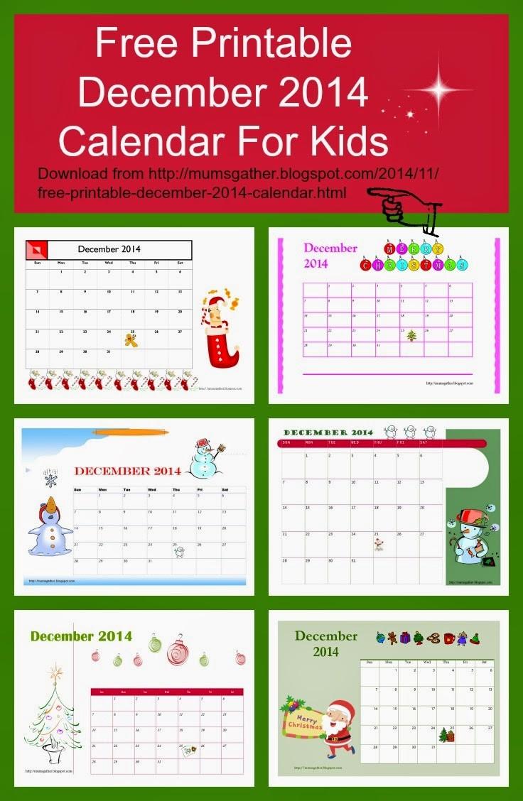 Free Printable Calendars for Kids Free Printable December 2014 Calendar for Kids Santa