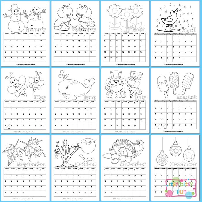 Printable Calendar for Kids 2018 Itsy Bitsy Fun