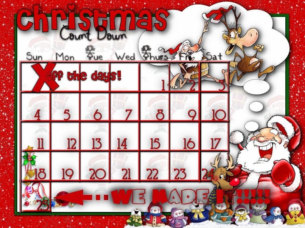 Christmas 2015 Countdown HD Calendar for Kids Printable