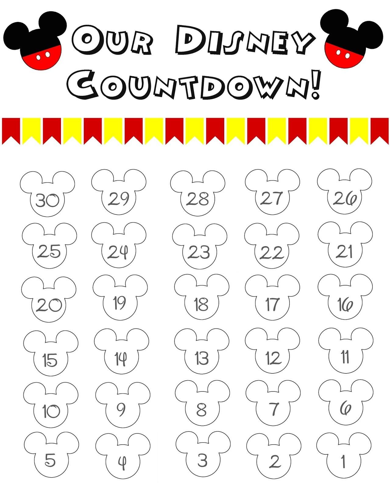 Disney World Countdown Calendar FREE Printable