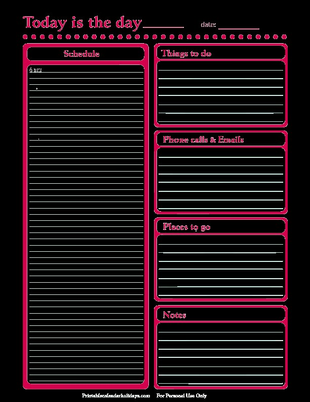 Daily Planner Template Free Printable Daily Planner for