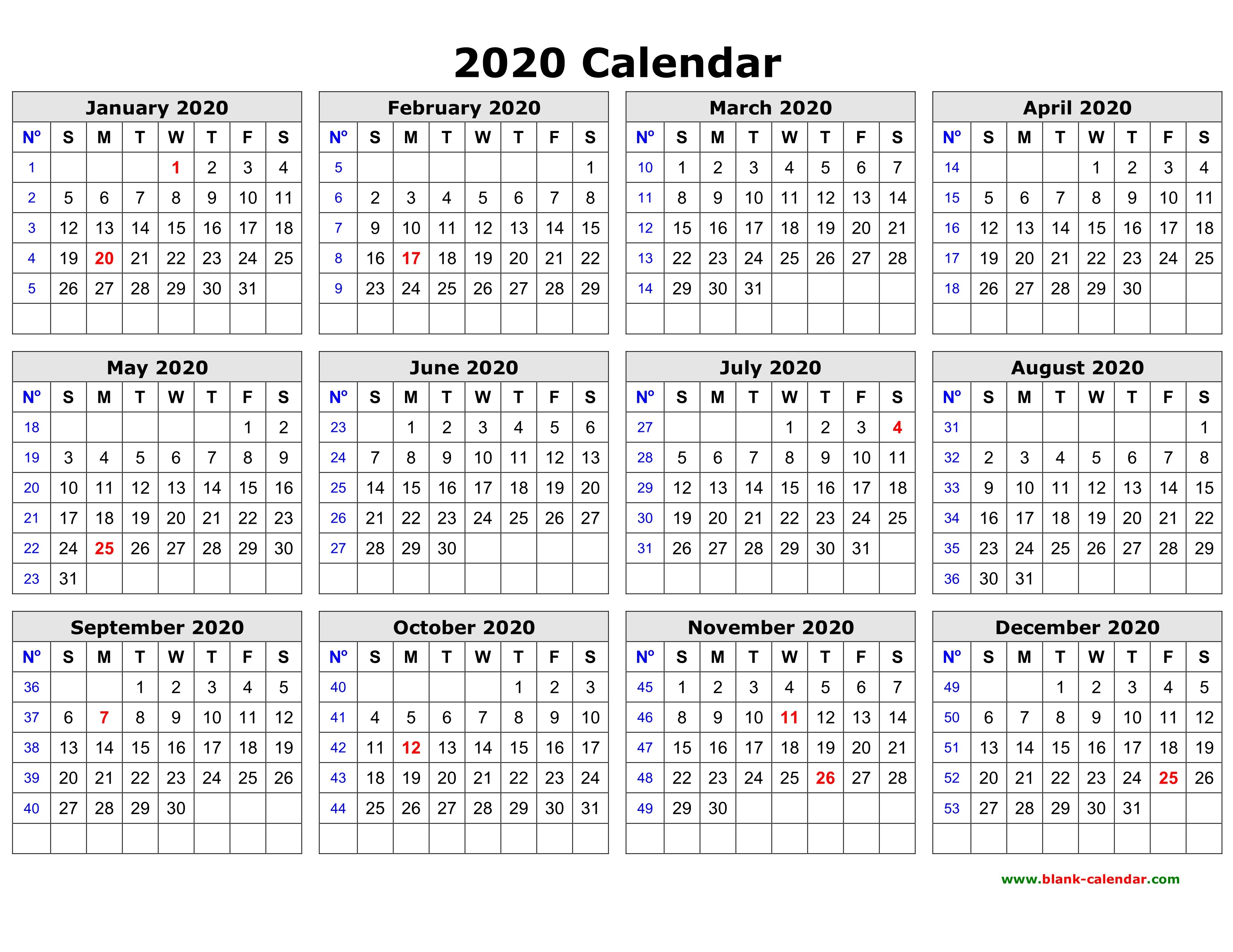 Free Printable Daily Calendar 2020