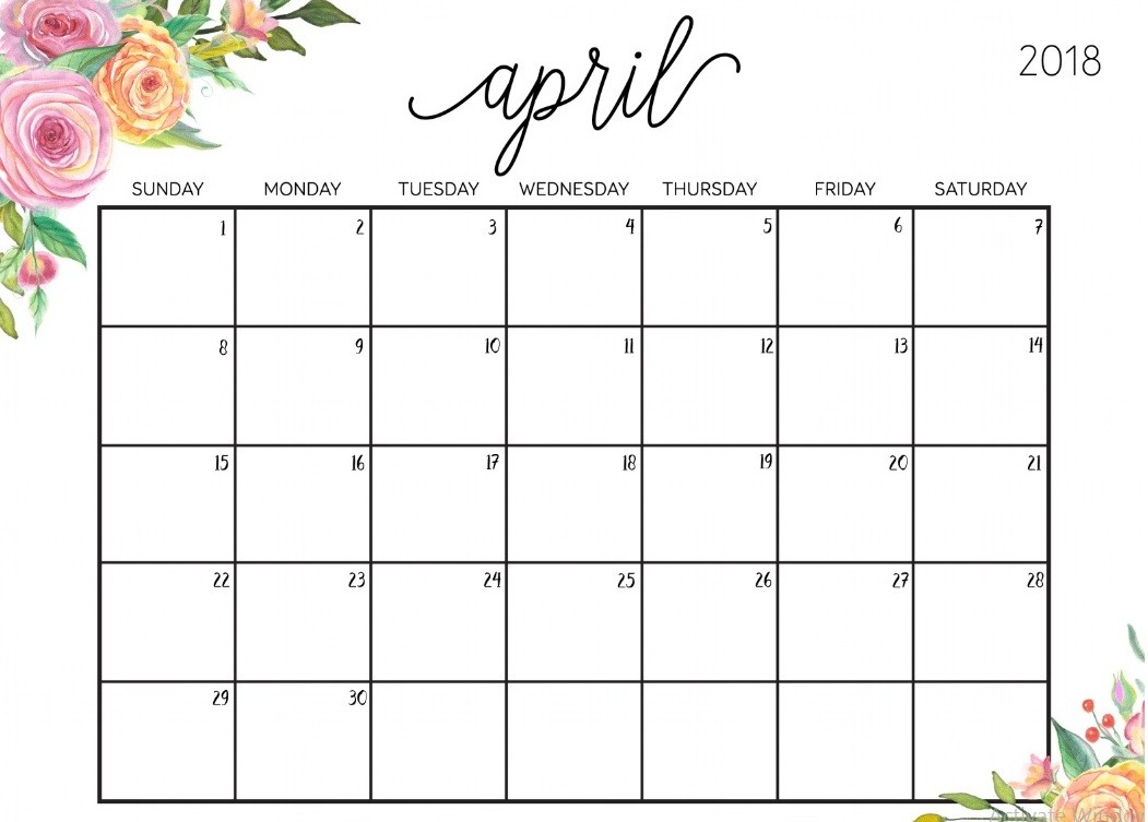 Editable April 2018 Calendar
