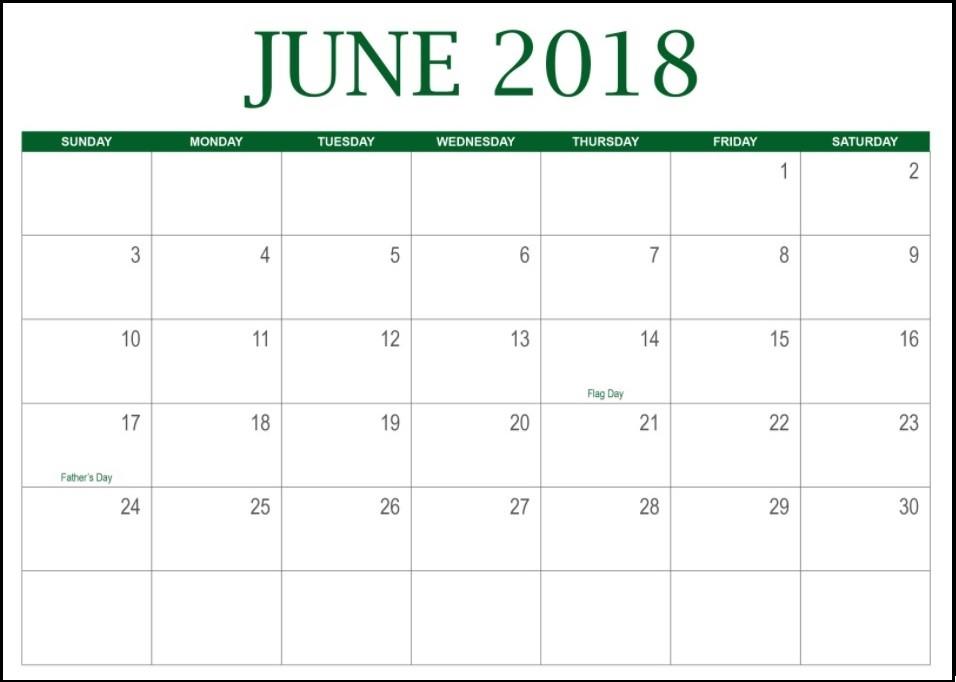 Editable June 2018 Calendar
