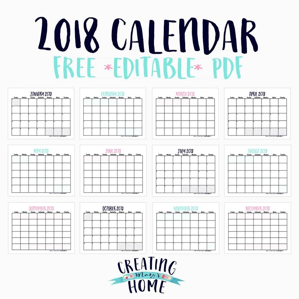 FREE 2018 Calendar Editable PDF creatingmaryshome