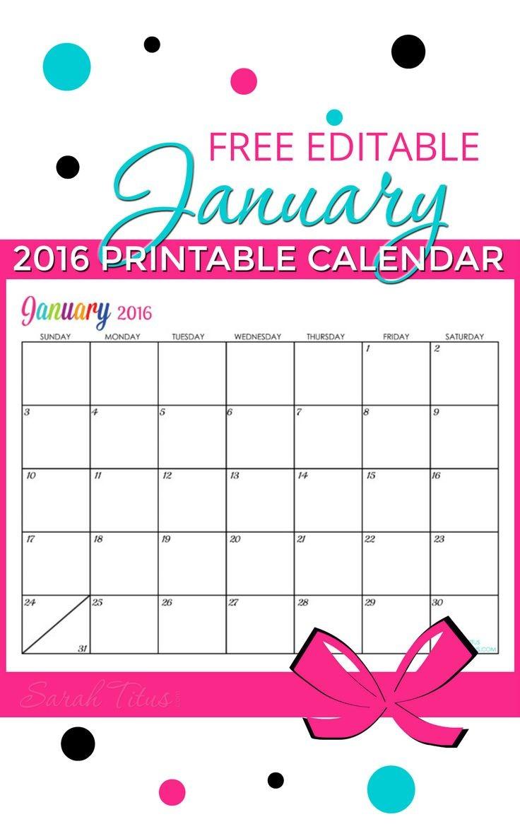 Free Printable Editable Calendar Free Blank Line Calendar January 2016