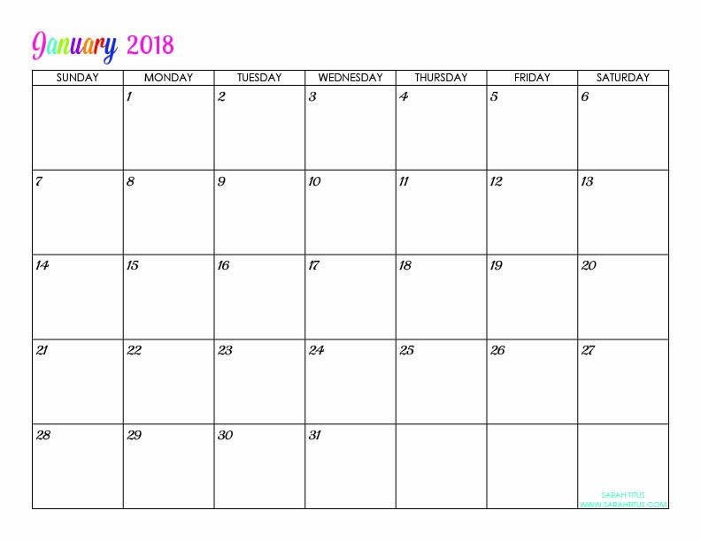 Free Printable Editable Calendars Custom Editable Free Printable 2018 Calendars Sarah Titus