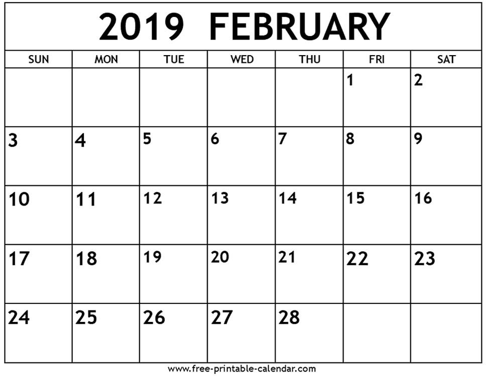 Free Printable February 2019 Calendar February 2019 Calendar Free Printable Calendar