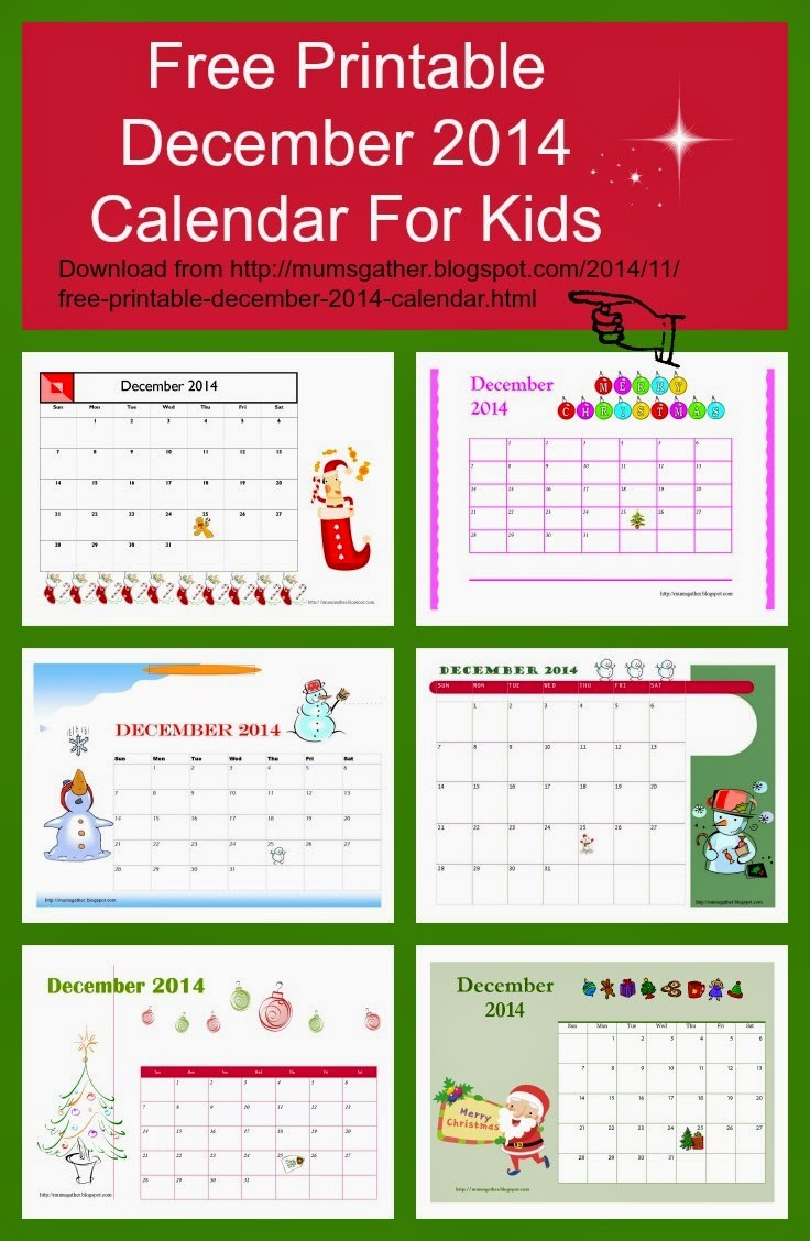 Free Printable Kids Calendar