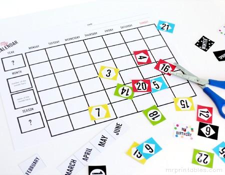 Free Printable Kids Calendar Printable Blank Calendars Mr Printables