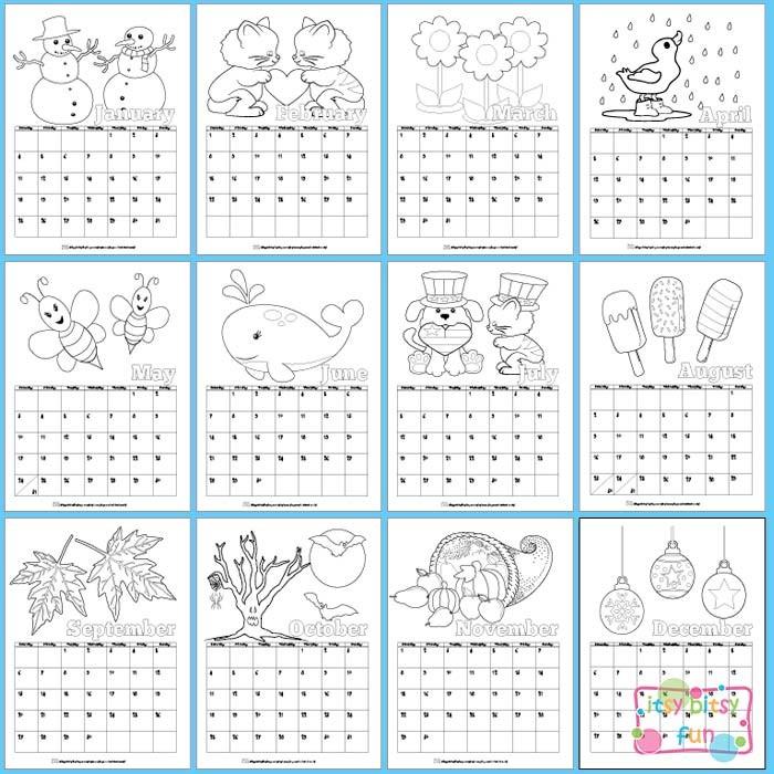Free Printable Kids Calendar Printable Calendar for Kids 2017 Itsy Bitsy Fun