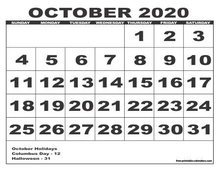 Free Printable October Calendar 2020 2020 Calendar Style 6 Free Printable Calendars