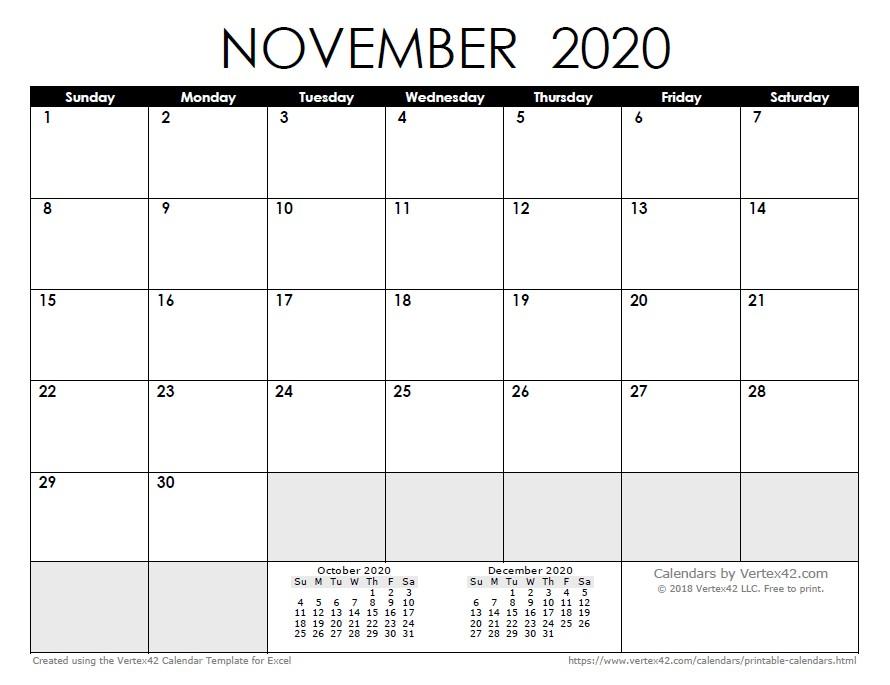 Free Printable October Calendar 2020 2020 Calendar Templates and
