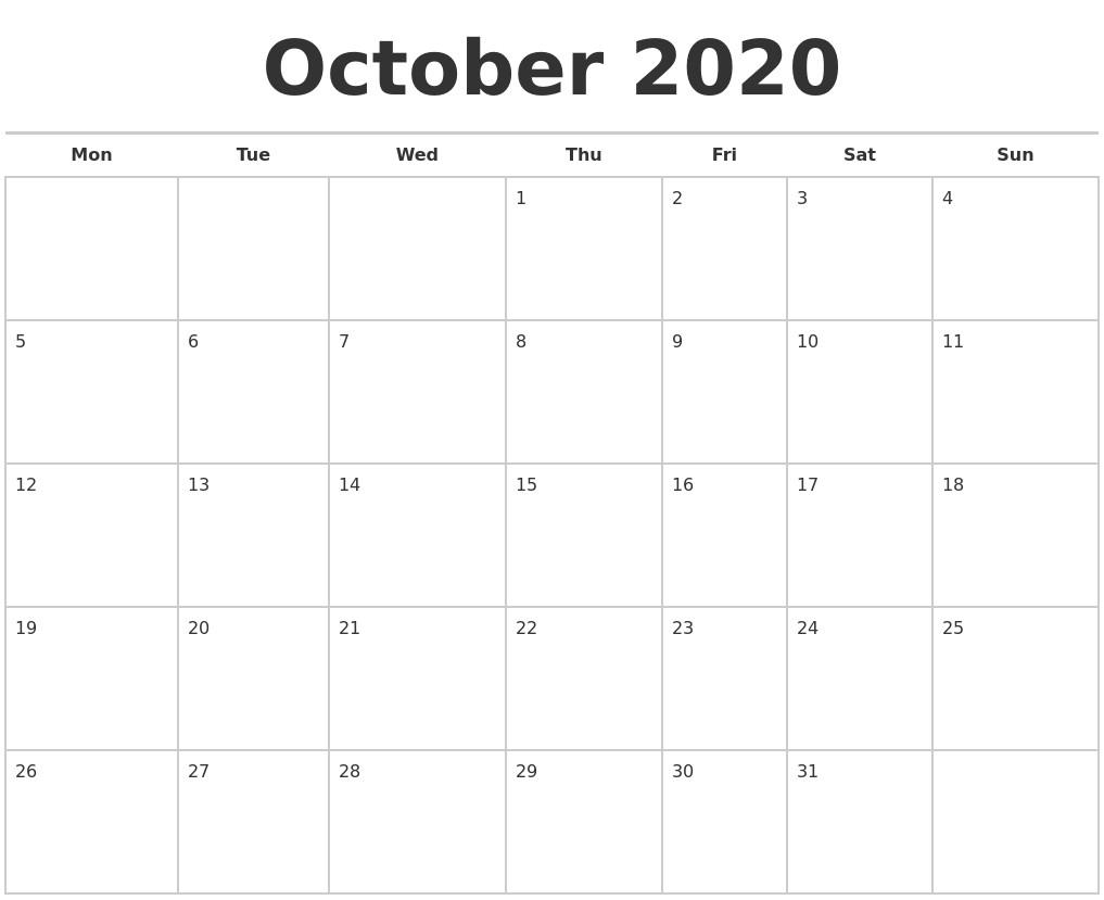 Free Printable October Calendar 2020