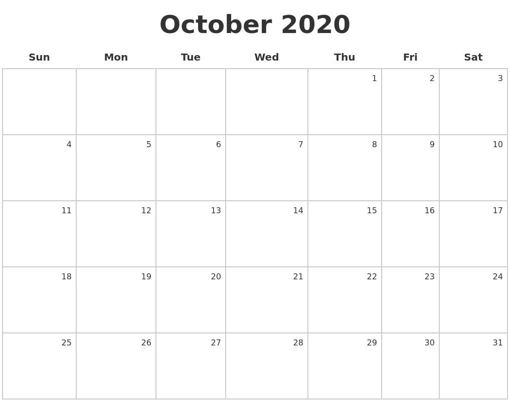 October 2020 Make A Calendar