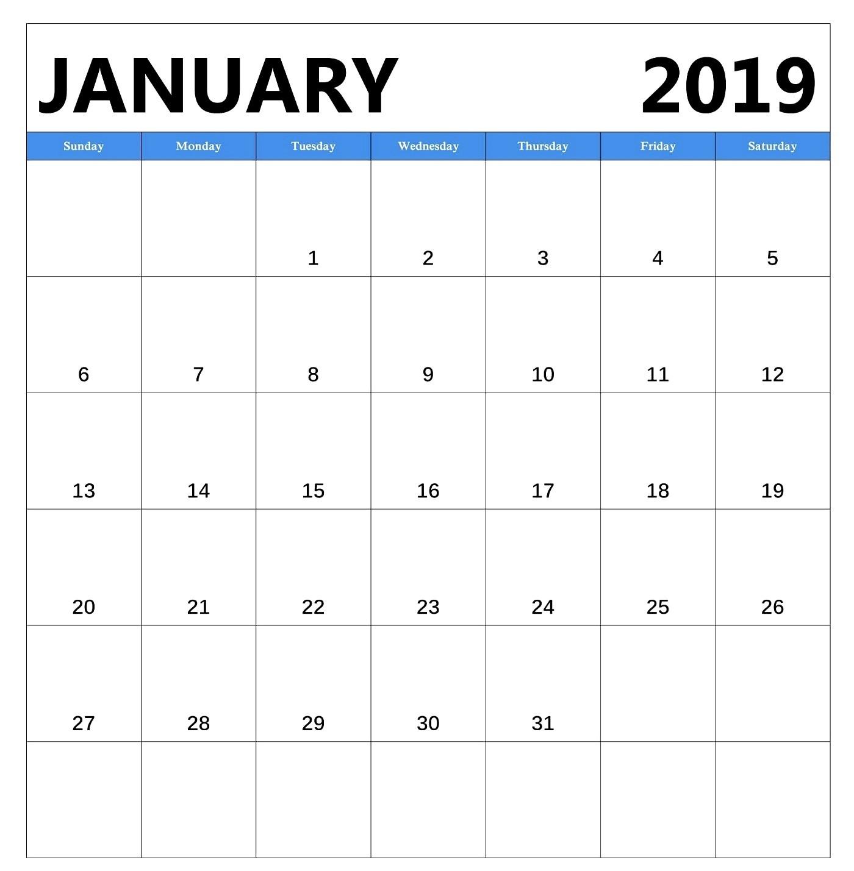 January 2019 Free Download Calendar PDF Excel Word
