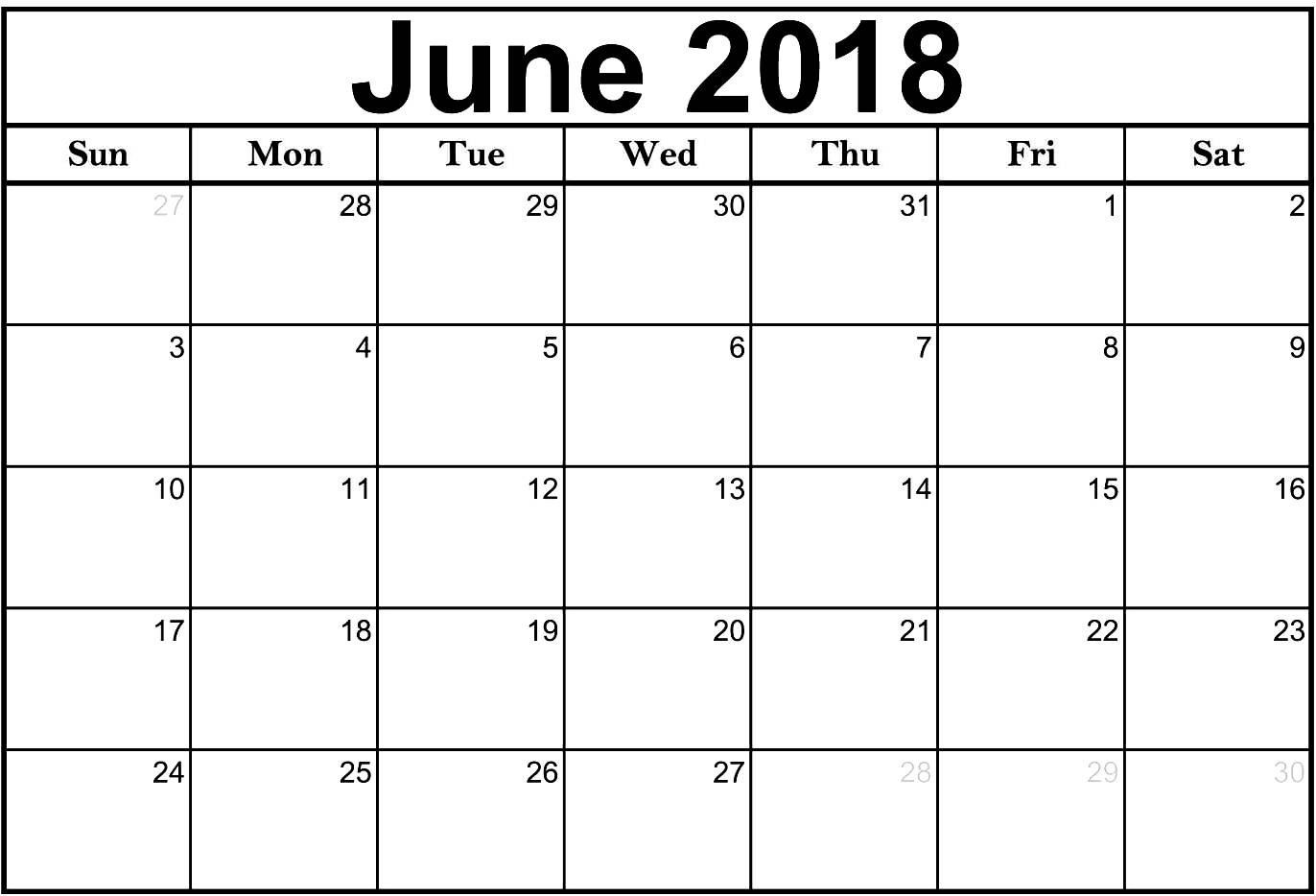 Free Printable Word Calendar June 2018 Calendar Word Printable