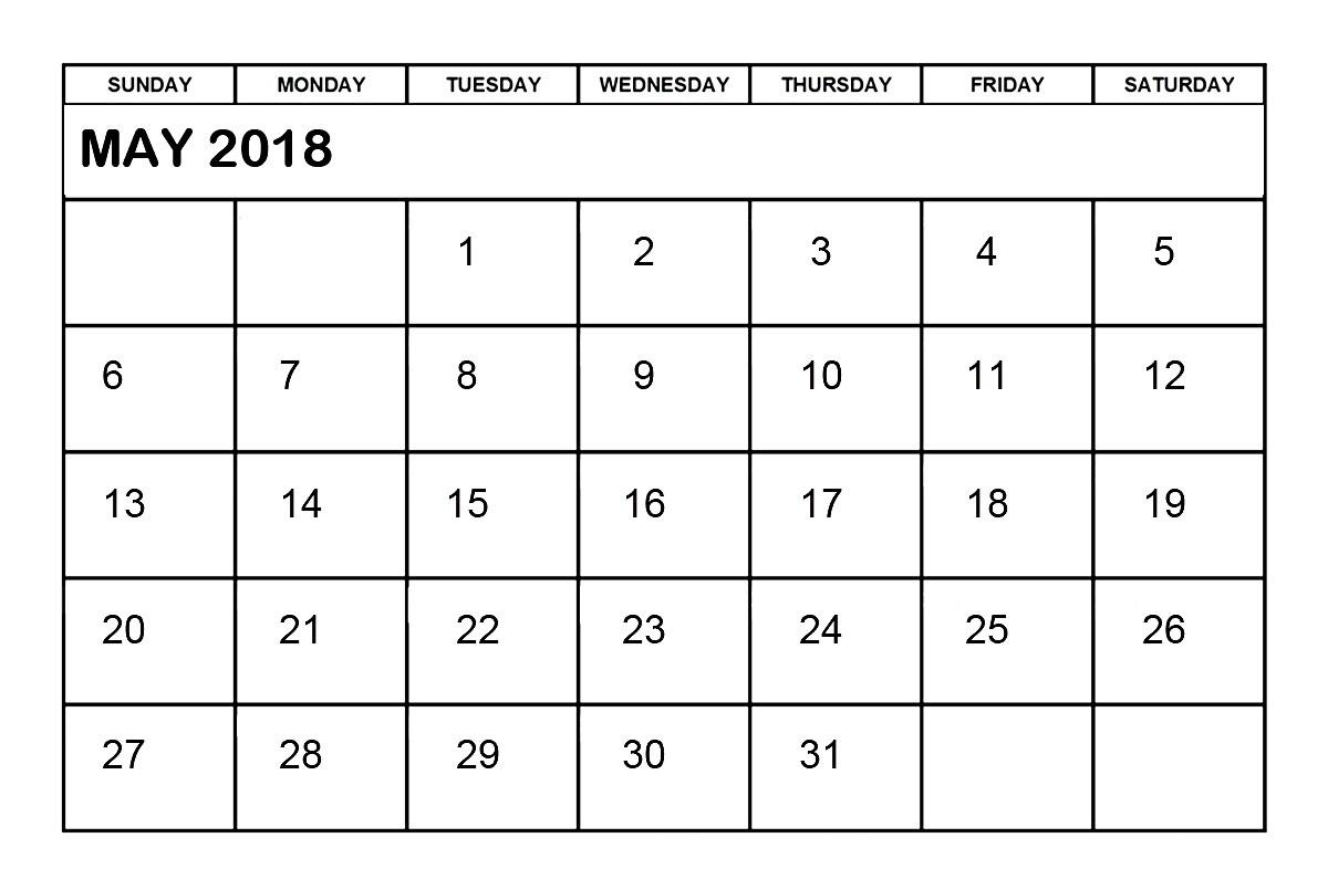 Free Printable Word Calendar May 2018 Calendar Word Printable