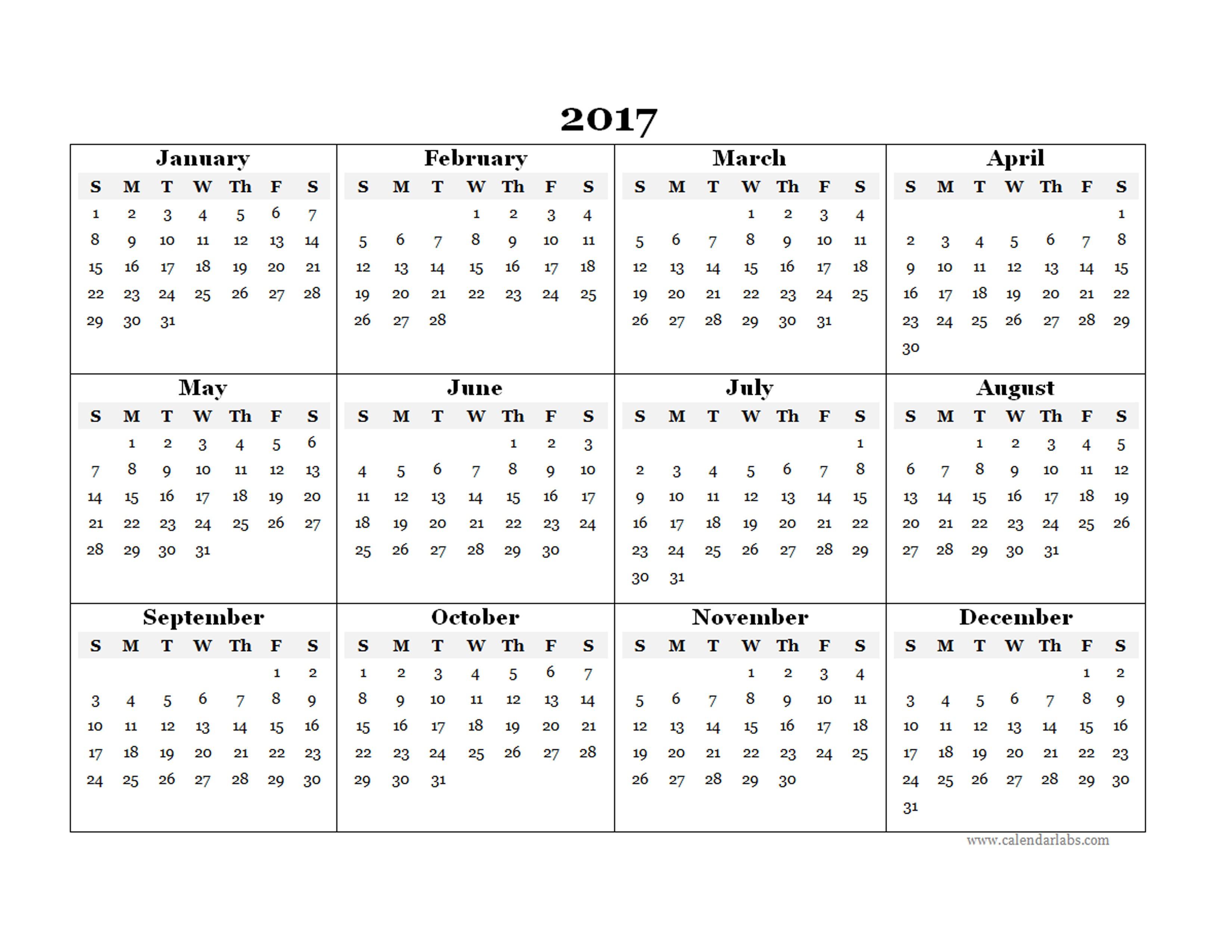 Free Printable Year Calendar