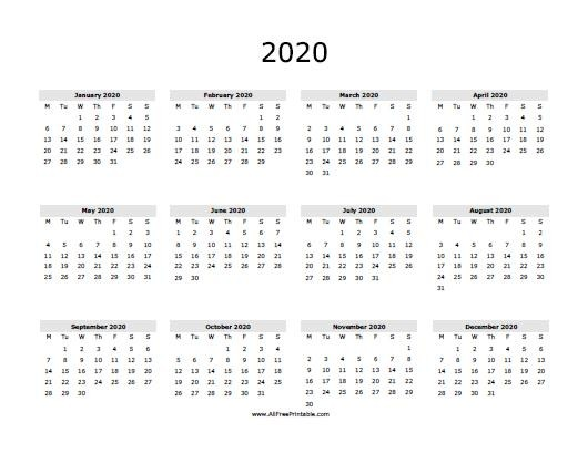 2020 Calendar Free Printable AllFreePrintable