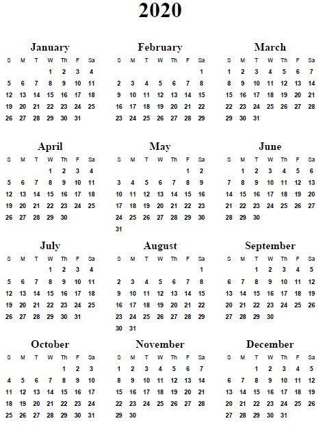 Free Printables Calendar 2020 5 Best Of 2020 Yearly Calendar Free Printable