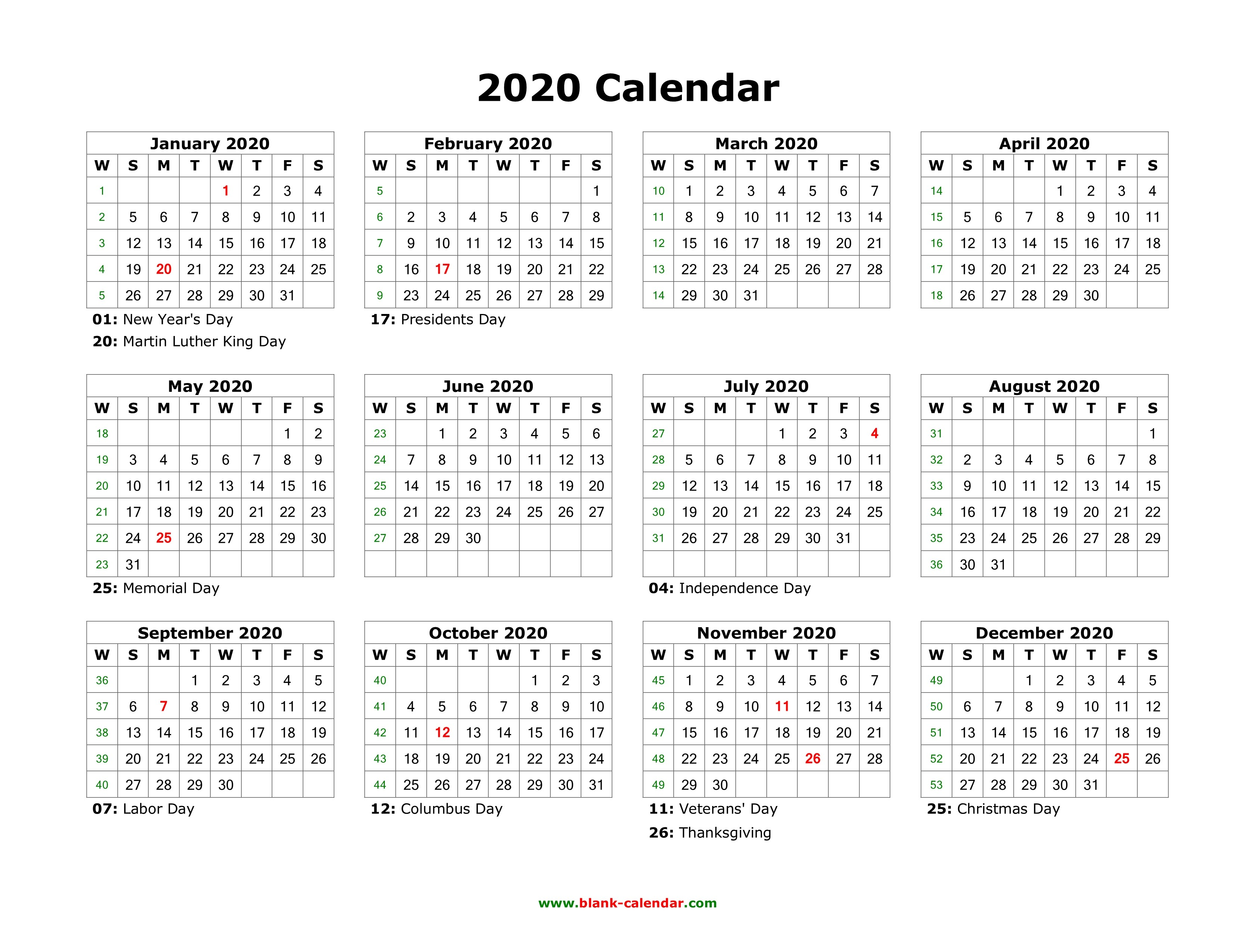 Full Page Printable Calendar 2020 Download Blank Calendar 2020 with Us Holidays 12 Months