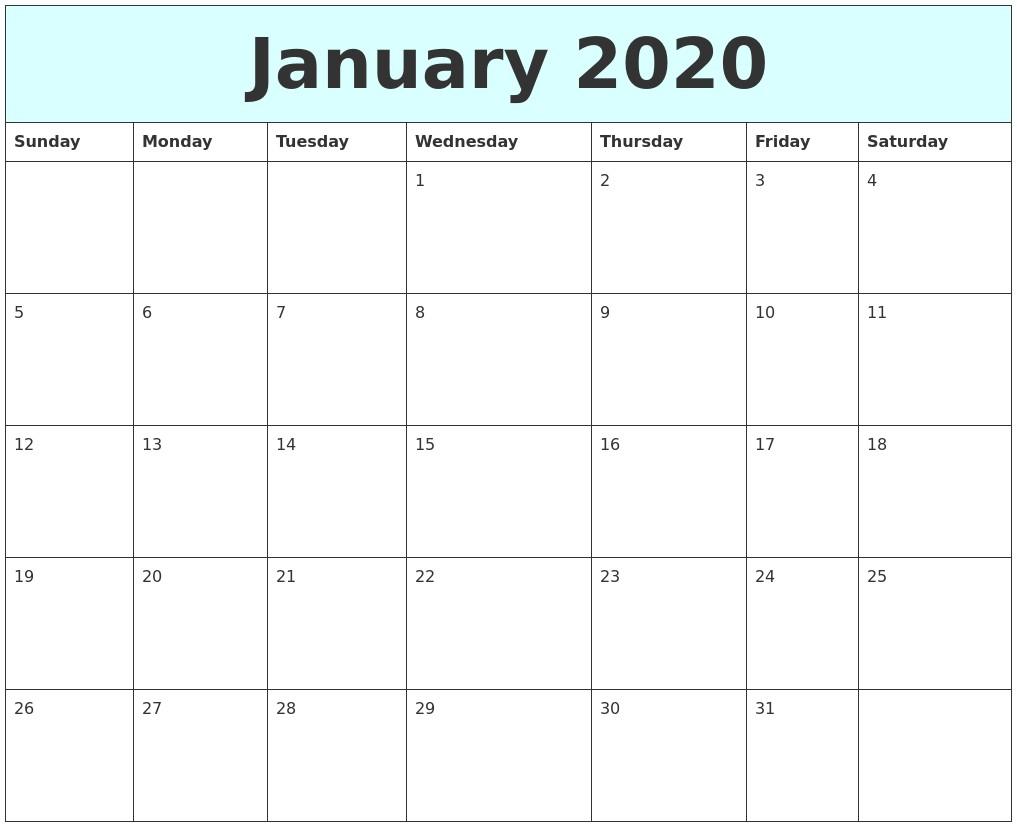 Full Page Printable Calendar 2020 January 2020 Free Calendar
