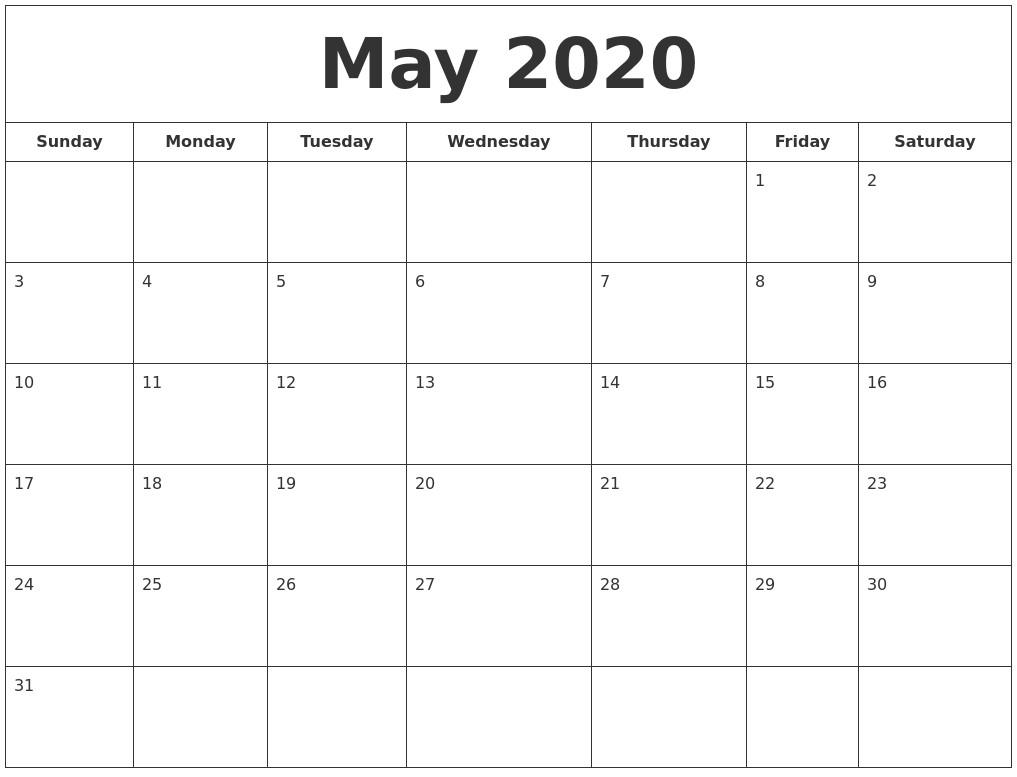 Full Page Printable Calendar 2020 May 2020 Printable Calendar