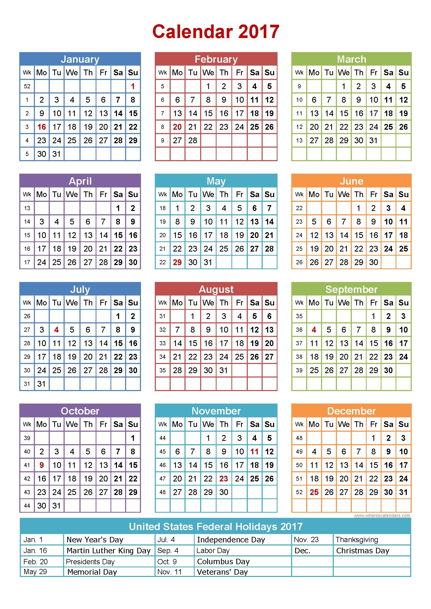 Full Size Printable Calendar Full Size Printable Calendar 2017