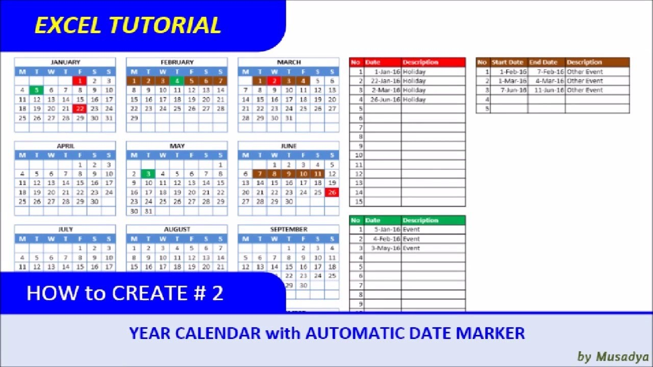 How to Make A Printable Calendar How to Create Excel Calendar for Specific Year with