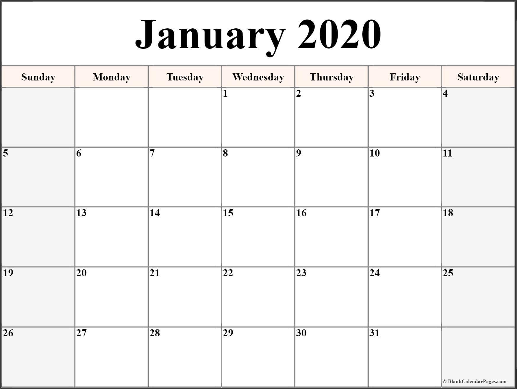 January 2020 blank calendar collection