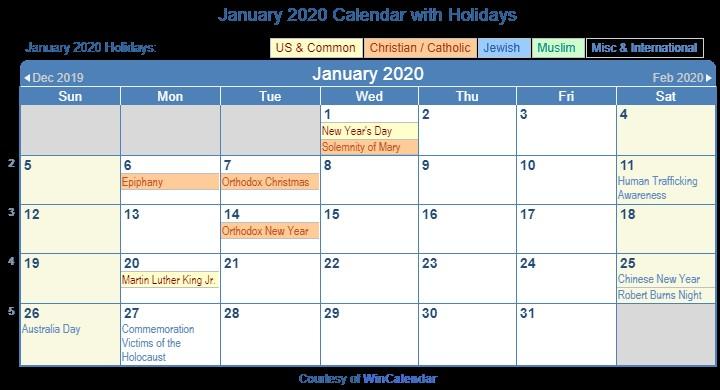 January Calendar 2020 Printable Print Friendly January 2020 Us Calendar for Printing