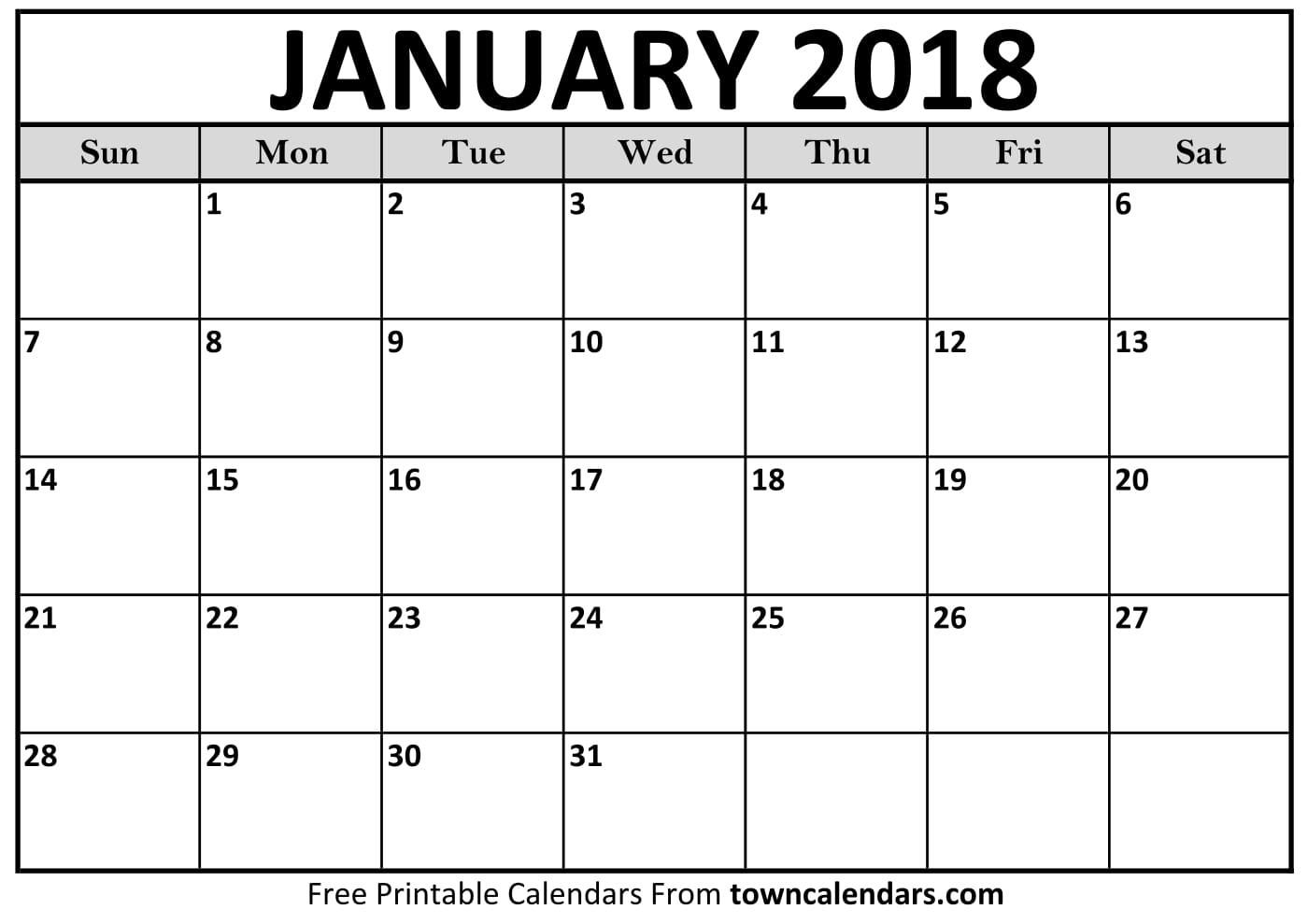 January Calendar Printable 2018 Calendar Printable towncalendars
