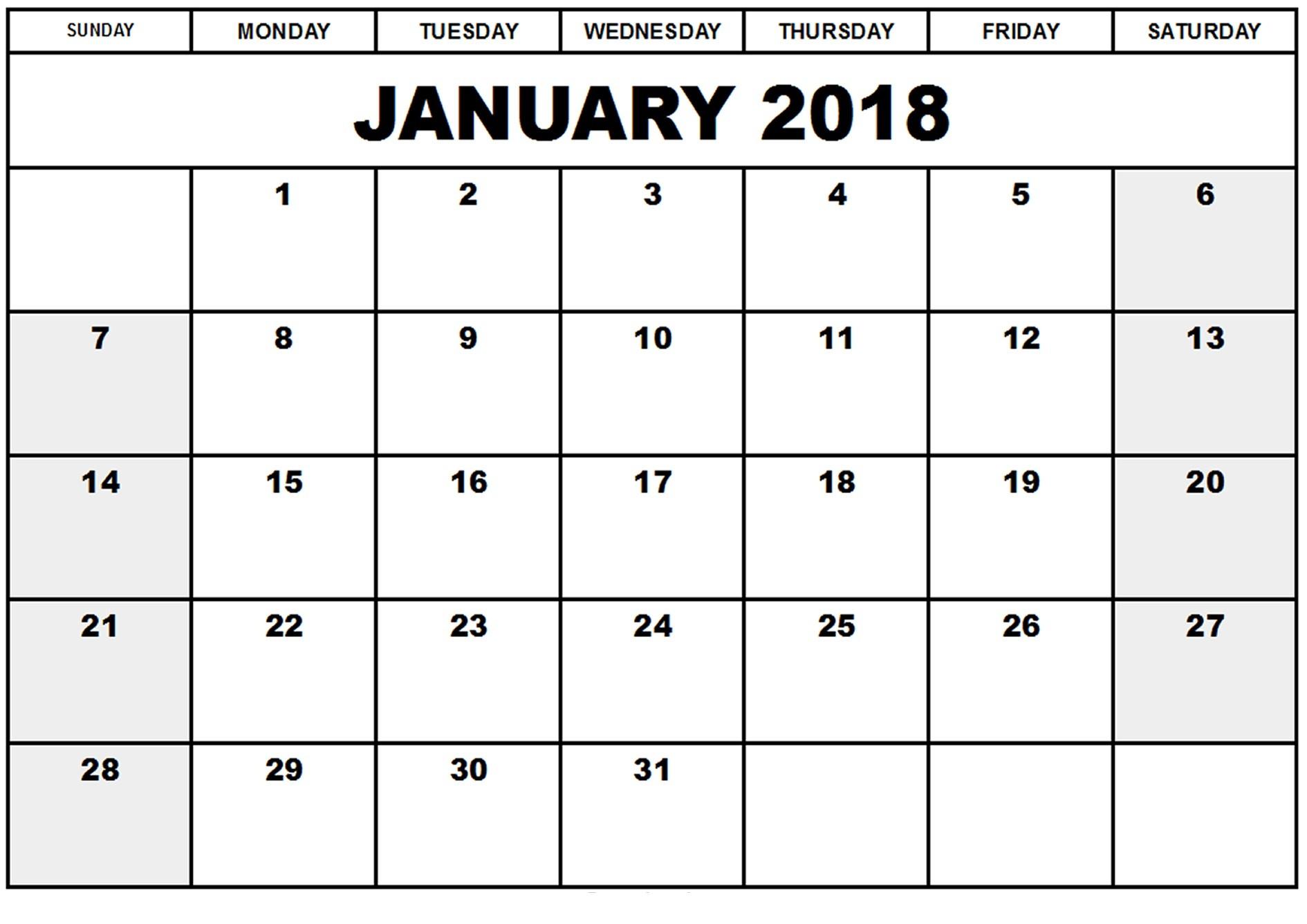 Free January 2018 Printable Calendar