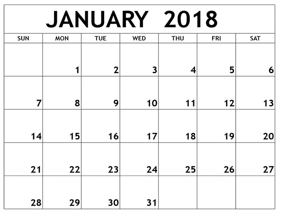 January Calendar Printable January 2018 Printable Calendar