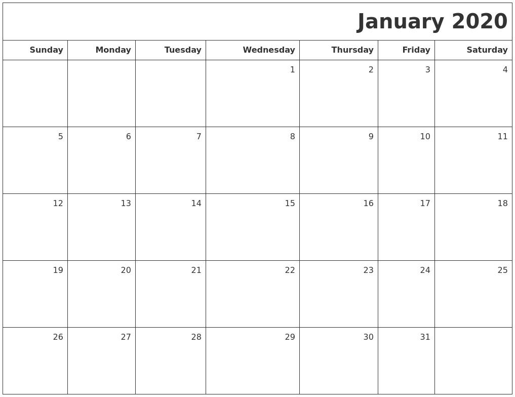 January Printable Calendar 2020 January 2020 Printable Blank Calendar