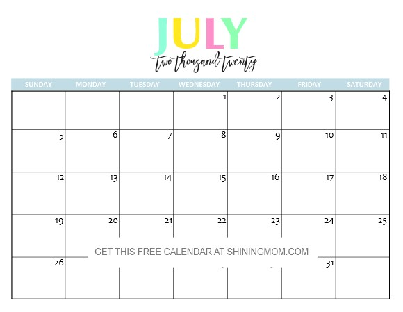 July 2020 Calendar Printable Free Printable 2020 Calendar so Beautiful & Colorful