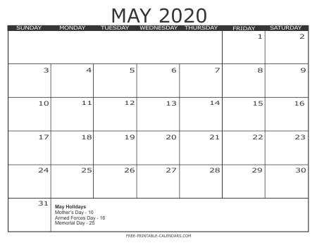 2020 Free Printable Calendars Free Printable Calendars
