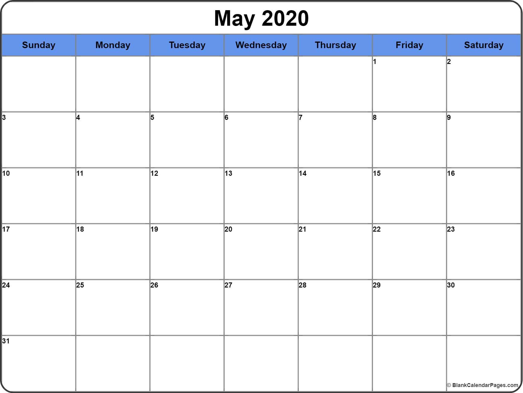 May Calendar 2020 Printable May 2020 Calendar