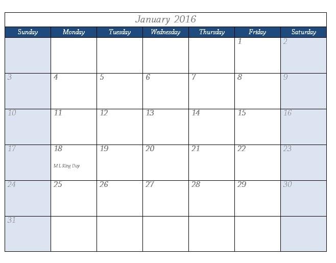 2016 Calendar Template Templates for Microsoft Word