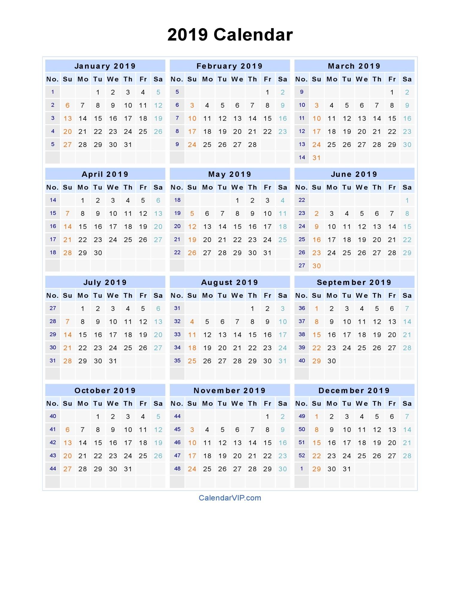Microsoft Word Printable Calendar 2019 2019 Calendar Word