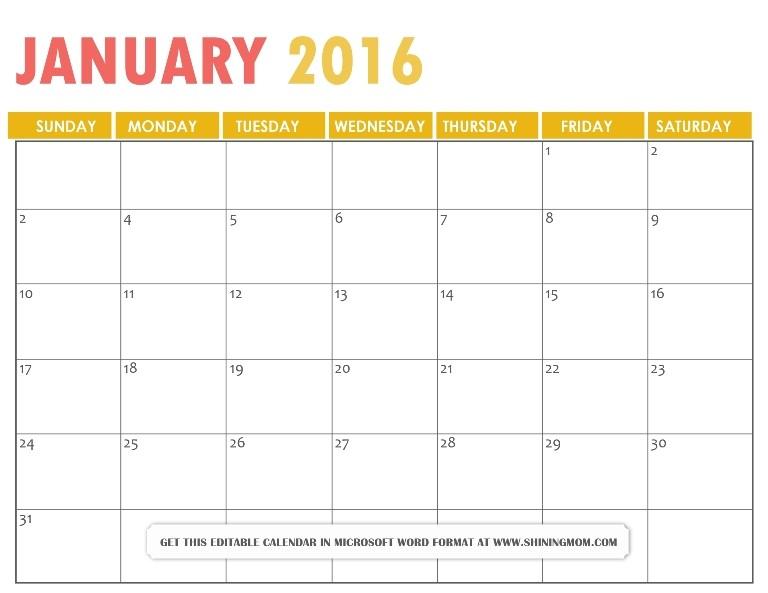 All Lovely Free Printable January 2016 Calendars