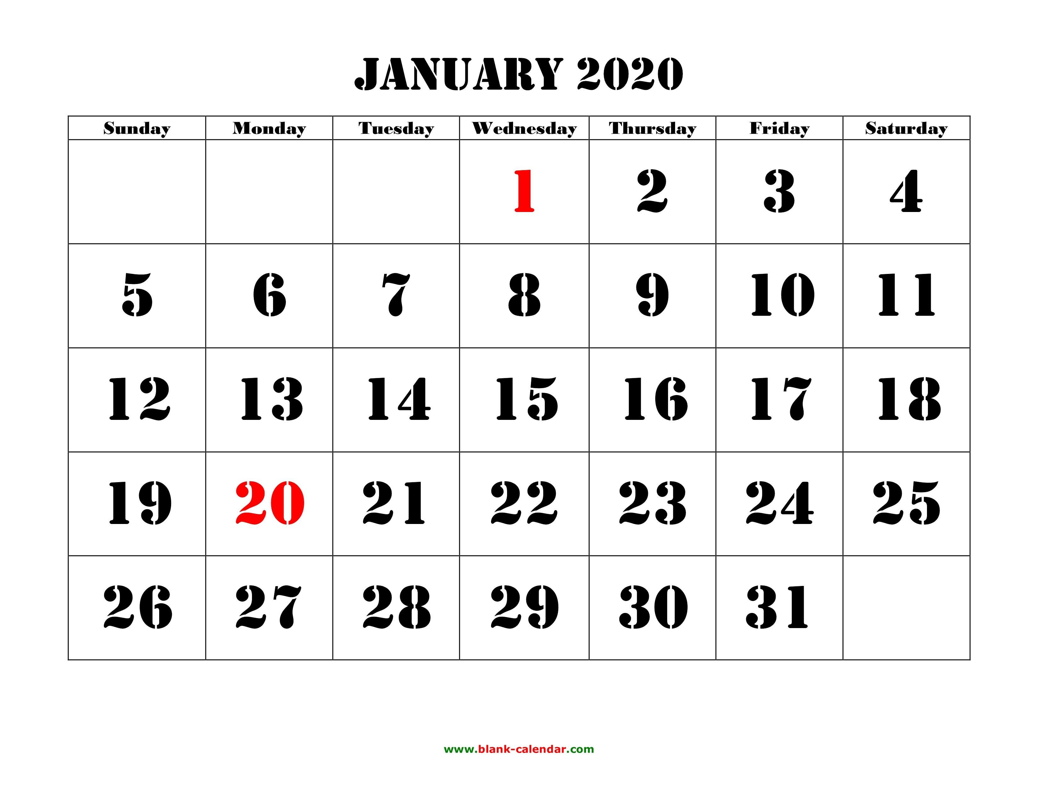 Monthly 2020 Calendar Printable Printable Calendar 2020