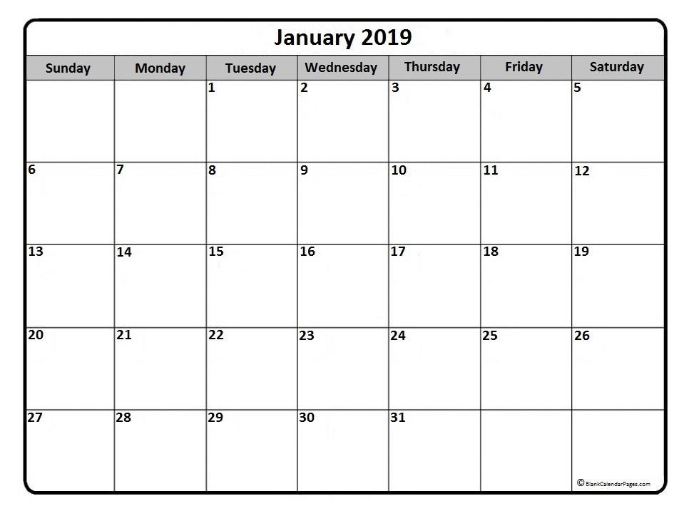 Monthly Calendar 2019 Printable