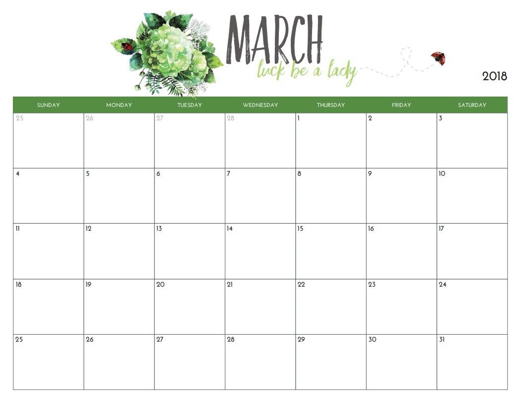 Monthly Printable Calendar Free Free Printable 2018 Monthly Calendar