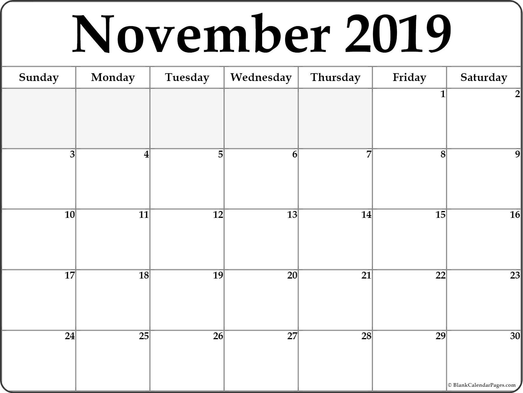 November 2019 Printable Calendar November 2019 Blank Calendar Collection