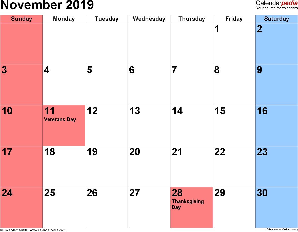 November 2019 Printable Calendar November 2019 Calendars for Word Excel & Pdf